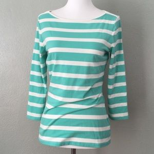 The Limited Striped 3/4 Sleeve Boatneck Top